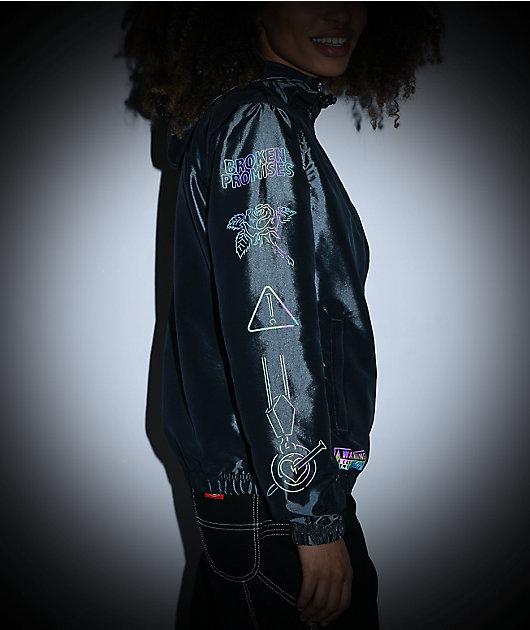 Broken Promises No Brain Black Windbreaker Jacket