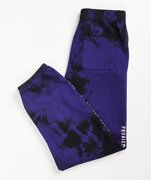 Broken Promises Problems Purple & Black Tie Dye Sweatpants
