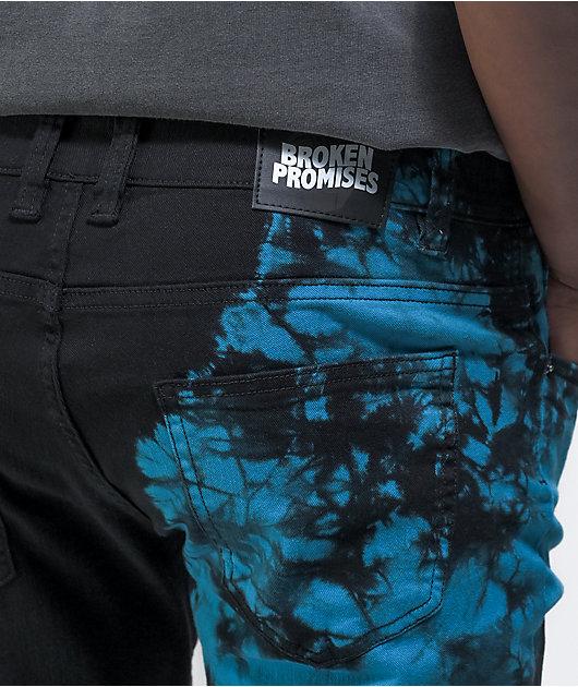 Broken Promises Slogan Split Dye Blue & Black Denim Jeans