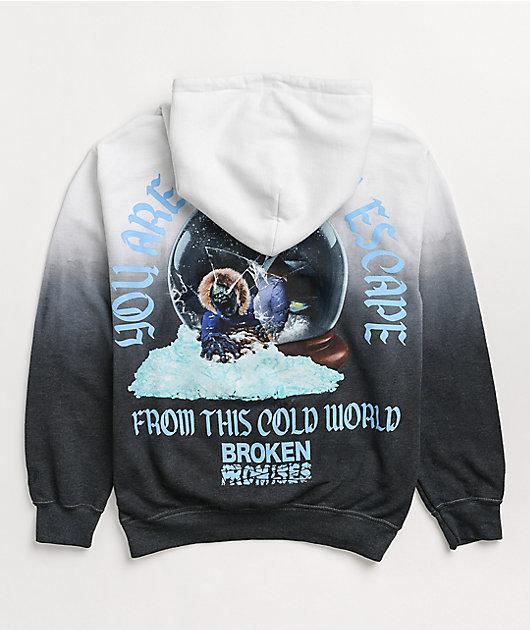 Broken Promises Snowglobe Black & White Dip Dye Hoodie