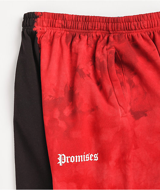 Broken Promises Split Dye Red & Black Sweatpants