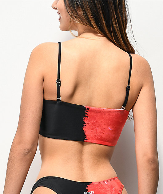 Broken Promises Split Red & Black Bandeau Bikini Top