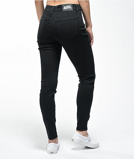 Broken Promises Stitch Rip Black Skinny Jeans