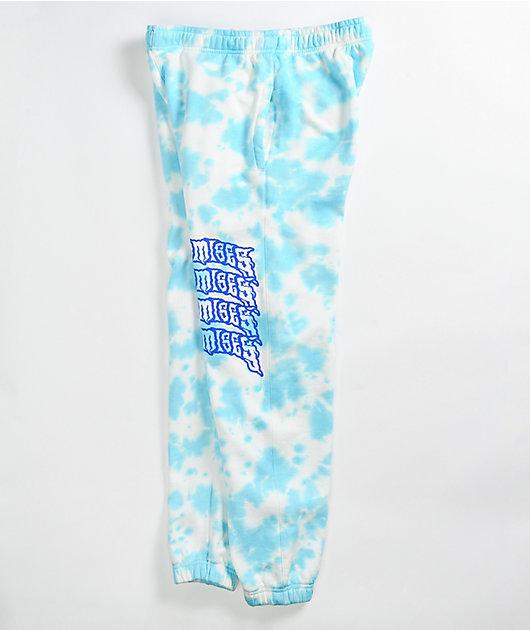 Broken Promises Temperal White & Light Blue Tie Dye Sweatpants