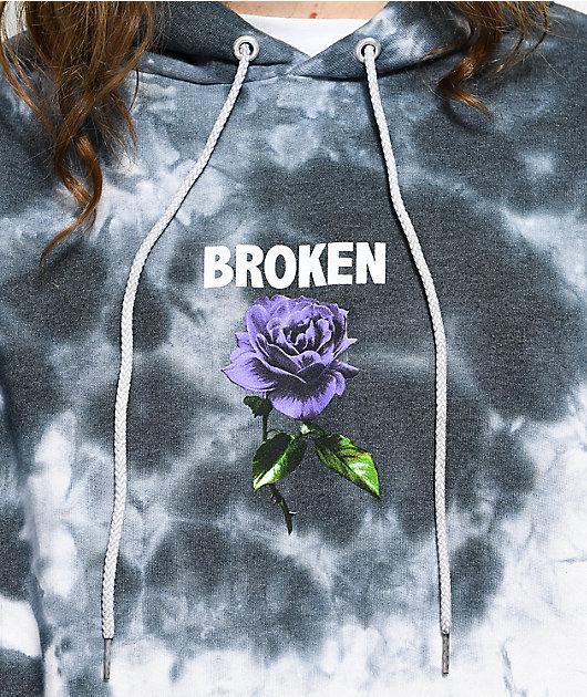 Broken Promises Thornless Grey Tie Dye Hoodie