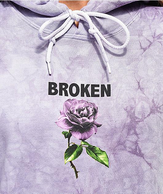 Broken Promises Thornless sudadera con capucha morada