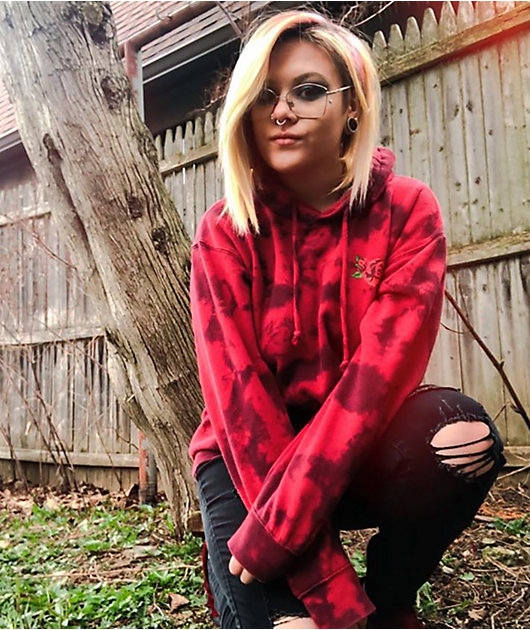 Broken Promises Trio Of Roses Red Tie Dye Hoodie