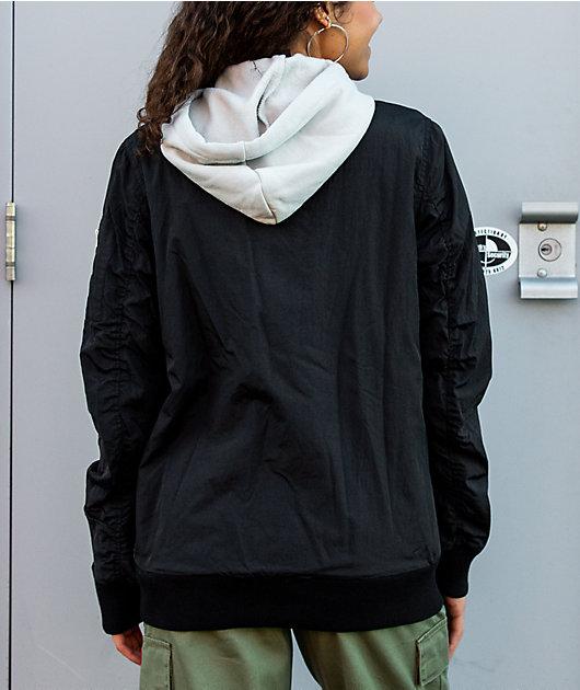 Broken Promises Wave Logo Black Hooded Bomber Jacket
