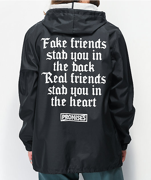 Broken Promises We Ain't Homies Black Hooded Coaches Jacket