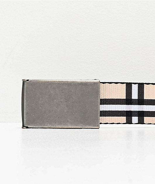 Buckle Down Cream, White & Black Plaid Web Belt
