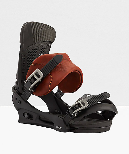Burton Malavita Black Leather Snowboard Bindings 2021