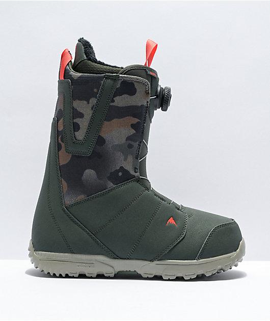 Burton Moto Boa Dark Green & Camo Snowboard Boots 2021