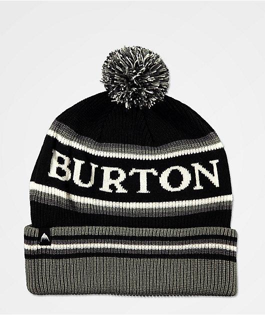 Burton Trope True gorro negro, gris y blanco con pompón