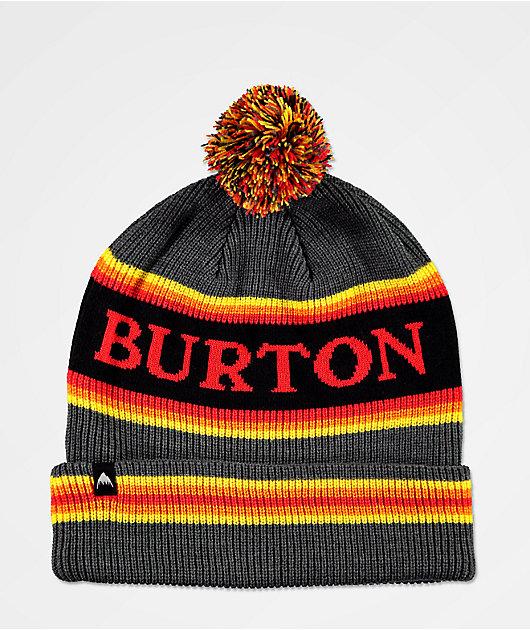 Burton Trope gorro negro, amarillo y rojo con pompón