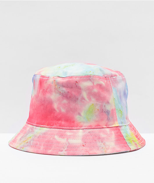 By Samii Ryan Blue, Pink & Yellow Tie Dye Bucket Hat