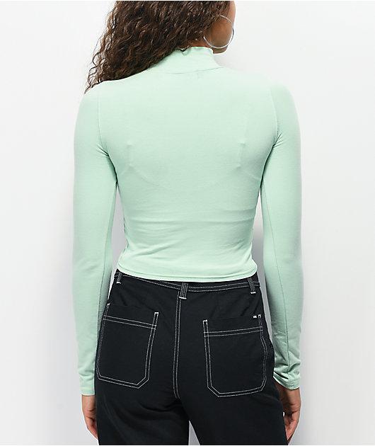 By Samii Ryan Double Crossed Green Crop Mock Neck Long Sleeve Top