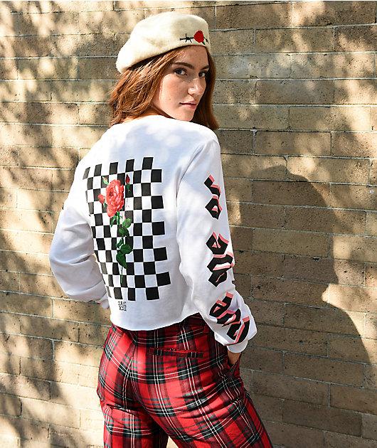 By Samii Ryan Let Me Go White Crop Long Sleeve T-Shirt