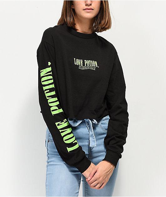 By Samii Ryan Love Potion Black & Neon Green Crop Long Sleeve T-Shirt