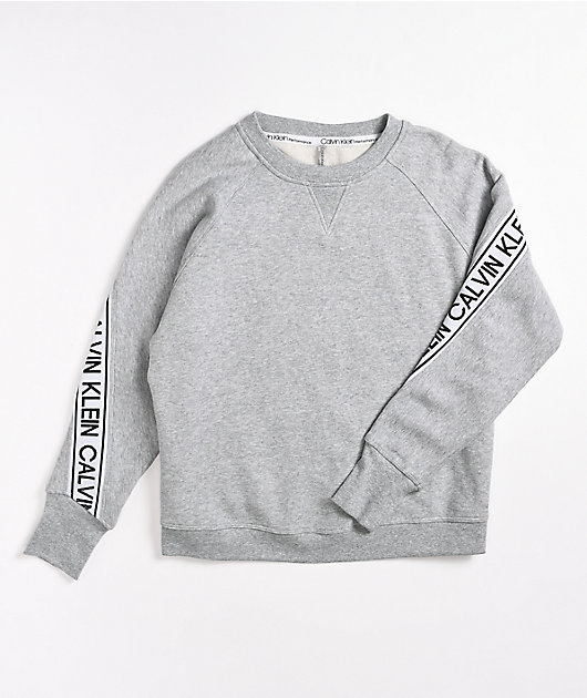 Calvin Klein Logo Tape Grey Crew Neck Sweatshirt