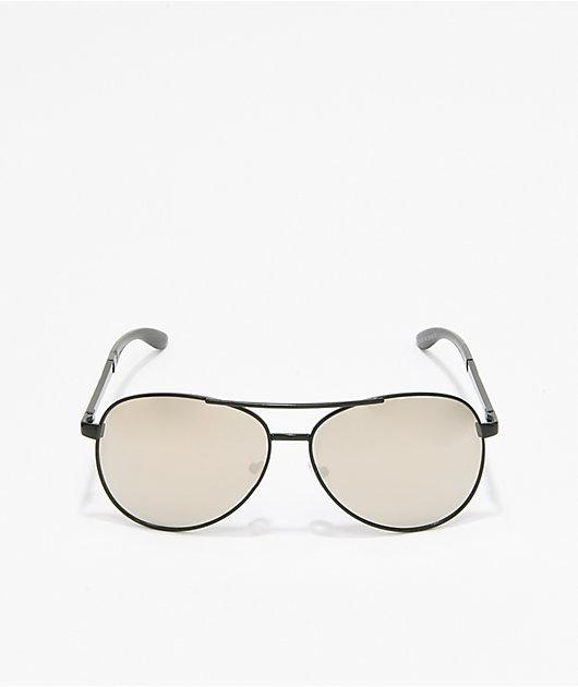Captain 2 Black & Silver Aviator Sunglasses