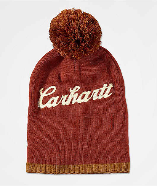 Carhartt Chainstitch Logo Red & Brown Pom Beanie