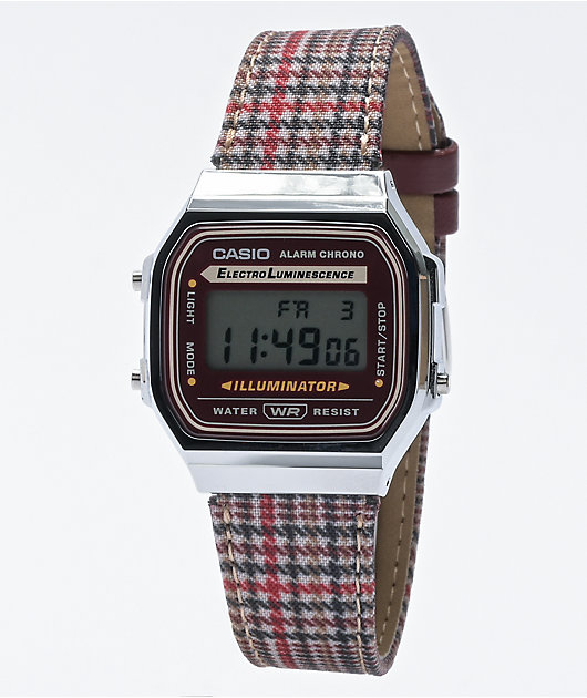 Casio Vintage A168WEFL-5AVT Silver & Plaid Digital Watch