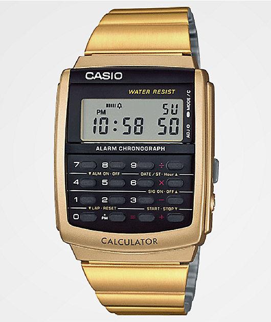 Casio Vintage Calculator reloj en color oro