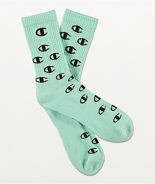 Champion All Over C Waterfall Green Crew Socks