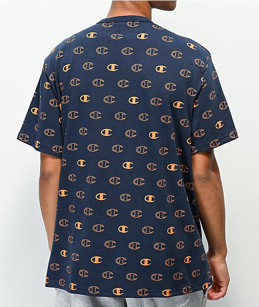 Champion All Over Logo Navy & Orange T-Shirt