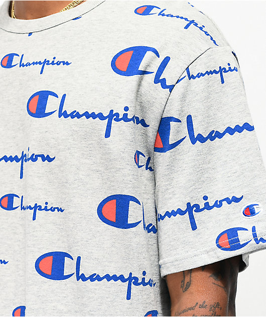 Champion All Over Script Oxford Grey T-Shirt