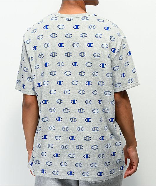 Champion Allover C Logo Grey Knit T-Shirt