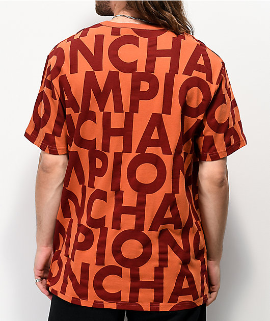 Champion Allover Print Block Text Orange T-Shirt