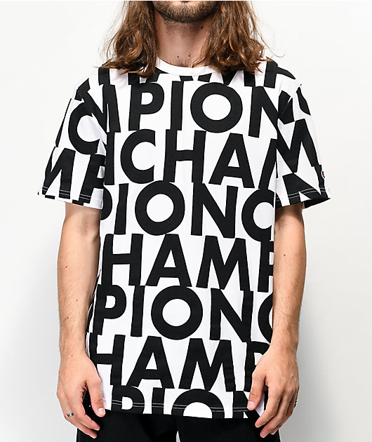 Champion Allover Print Block Text White T-Shirt