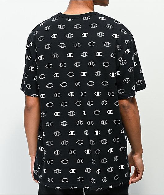 Champion Allover Print C Logo Black T-Shirt