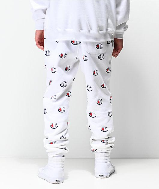 Champion Allover Print White Jogger Sweatpants