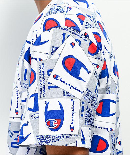 Champion Allover Tag Print camiseta de punto blanco
