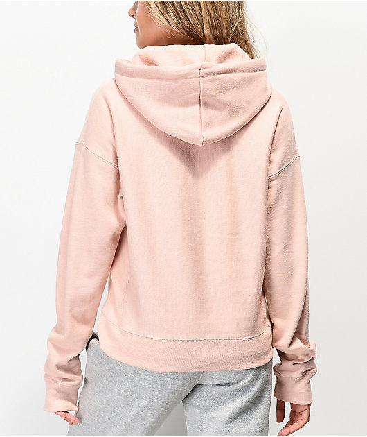 Champion Almond sudadera con capucha te tejido inverso rosa