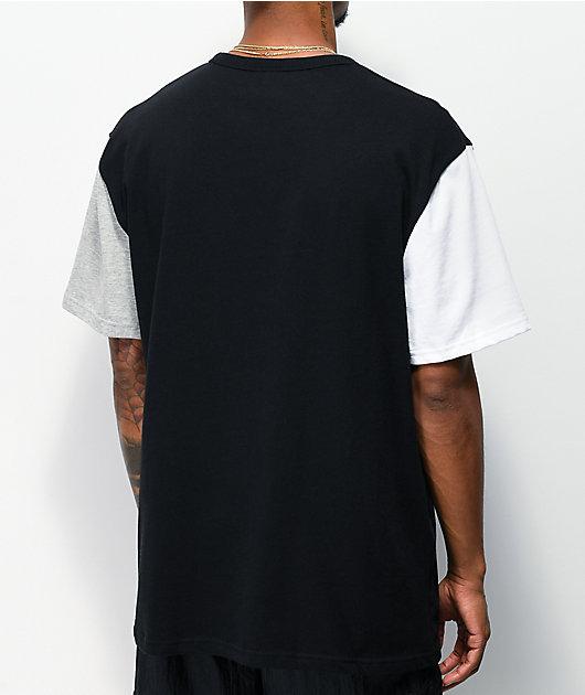 Champion Big C Black, White & Grey Colorblock T-Shirt