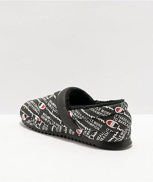 Champion Boys Varsity Reflective Black Slippers