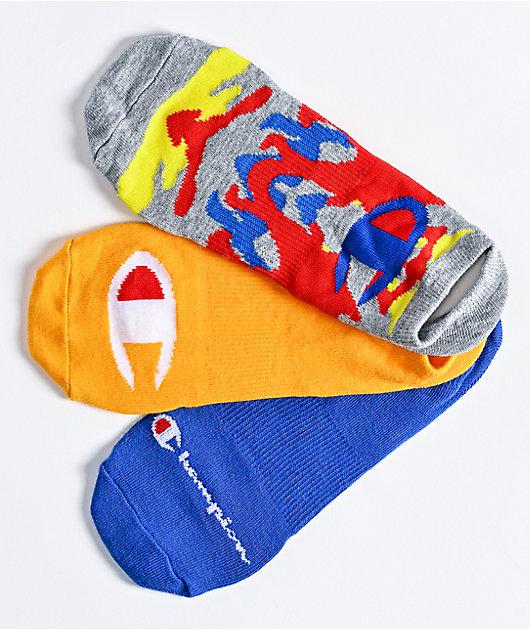 Champion C-Life paquete de 3 calcetines invisibles en azul, naranja y Surf Camo