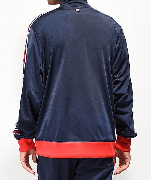 Champion Chain Stitch C Logo Blue & Red Track Jacket