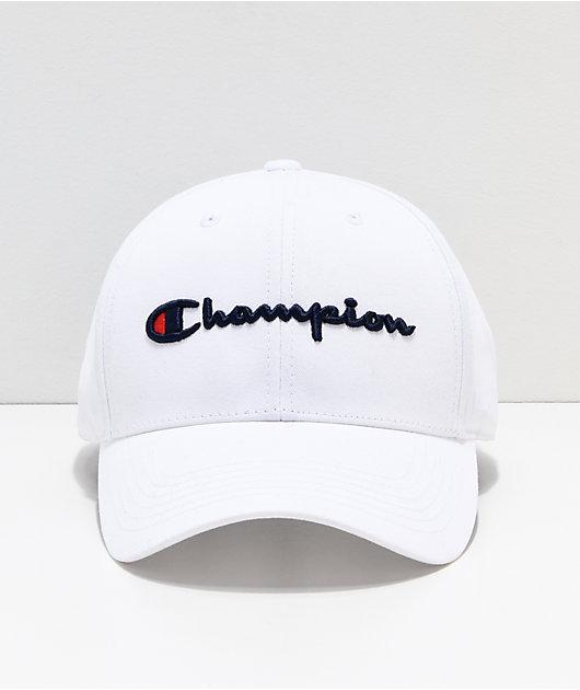 Champion Classic Twill White Strapback Hat