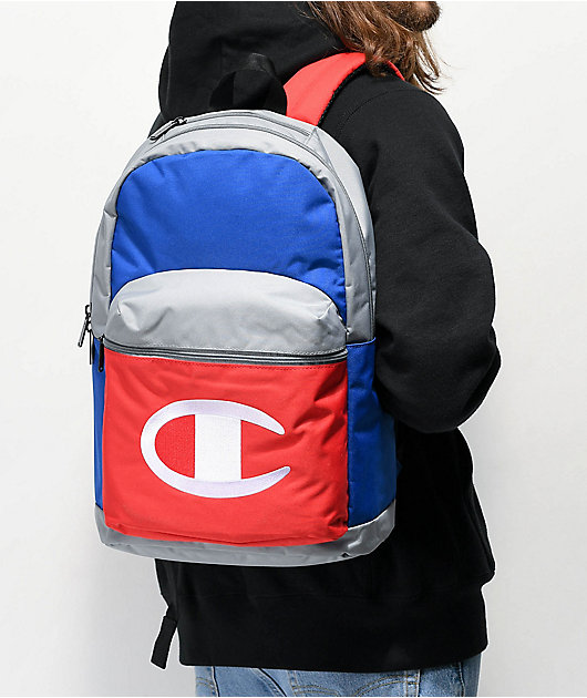 Champion Color Block Grey, Blue & Red Backpack