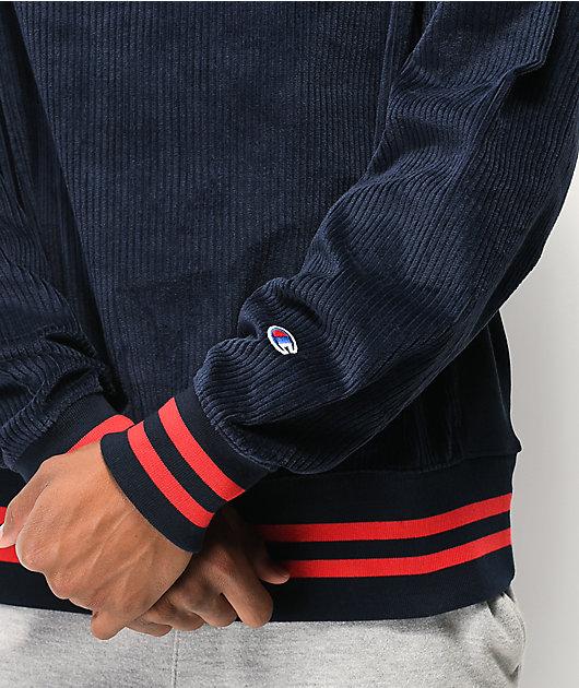 Champion Corduroy Navy Crew Neck Sweatshirt