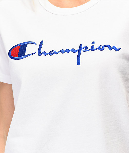 Champion Embroidered White T-Shirt