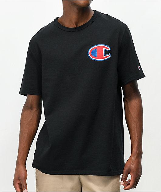 Champion Felt Applique Black T-Shirt