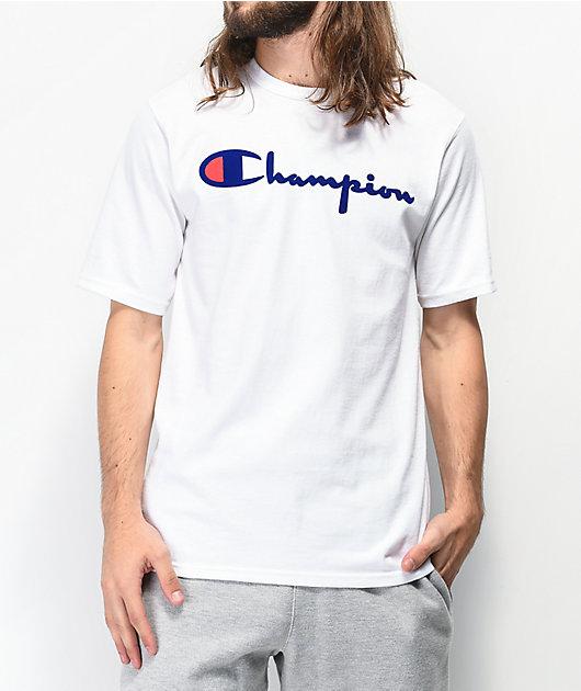 Champion Flock Script White T-Shirt