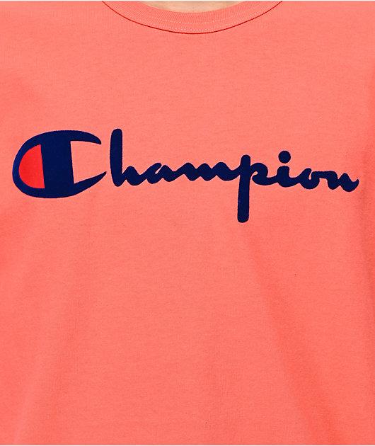 Champion Flock Script camiseta papaya y azul