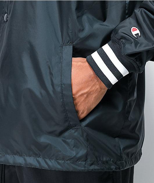 Champion Floss Stitch C Black Satin Coaches Jacket