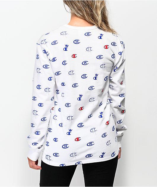 Champion Heritage Allover Print camiseta blanca de manga larga
